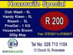 Housewife Cleaning Special Offer in Riversdale