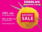 Toucan Material and Wool Shop Mossel Bay Birthday Sale