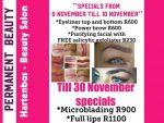 November Beauty Salon Specials Hartenbos