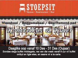 Stoepsit Restaurant Vleesbaai Oop vir die Seisoen 2017