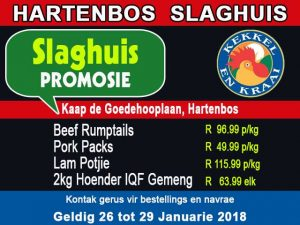 Januarie Slaghuis Promosie in Hartenbos