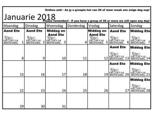 De Vette Mossel Grootbrak Kalender vir Januarie 2018