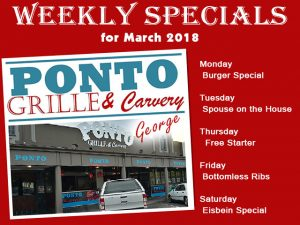 Restaurant Specials for March at Ponto in George