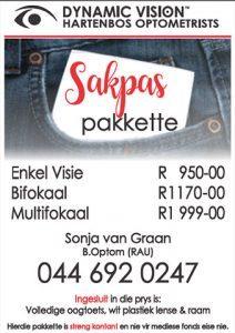 Sakpas Pakkette by Oogkundige in Hartenbos