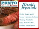 Weekly Restaurant Specials at Ponto in George