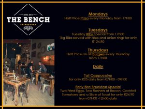 Restaurant Specials at The Bench in George
