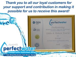 Perfect Water George Received an Award!