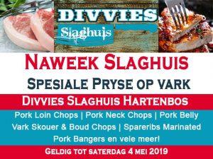 Slaghuis Spesiale Pryse op Vark in Hartenbos