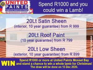 Buy at United Paints Mossel Bay and win a Lamb